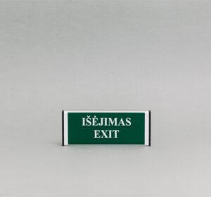 Saugos durų lentelė kuri nurodo išėjimą (tekstinis).