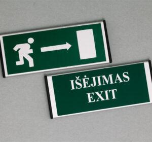 Išėjimo informacinis ženklas turi 2 variantus