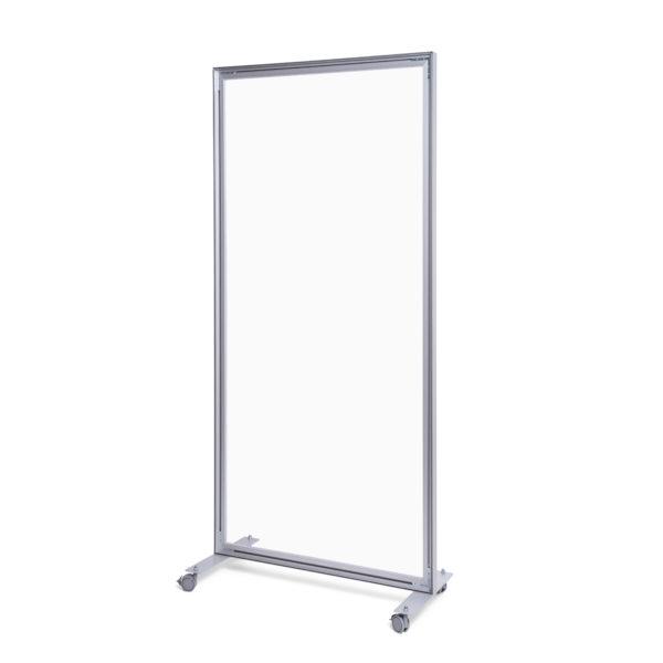 Apsauginė organinio stiklo siena 100x200cm. Aliuminio rėmo siena su akrilo stiklu. Išmatavimai 1000 x 2000 mm, su ratukais.
