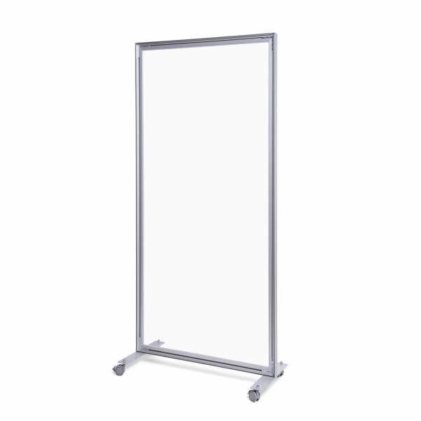 Apsauginė organinio stiklo siena 80x180cm. Aliuminio rėmo siena su akrilo stiklu. Išmatavimai 800 x 1800 mm, su ratukais.