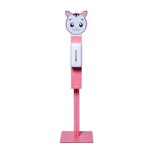 Rožinis vaikiškas dezinfekavimo stovas, su katytę viršuje