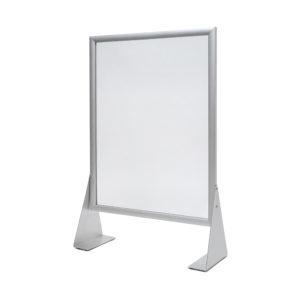 Organinio stiklo A1 formato apsauginė sienelė. Rėmeliai iš aliuminio ir metalinėm kojelėm.